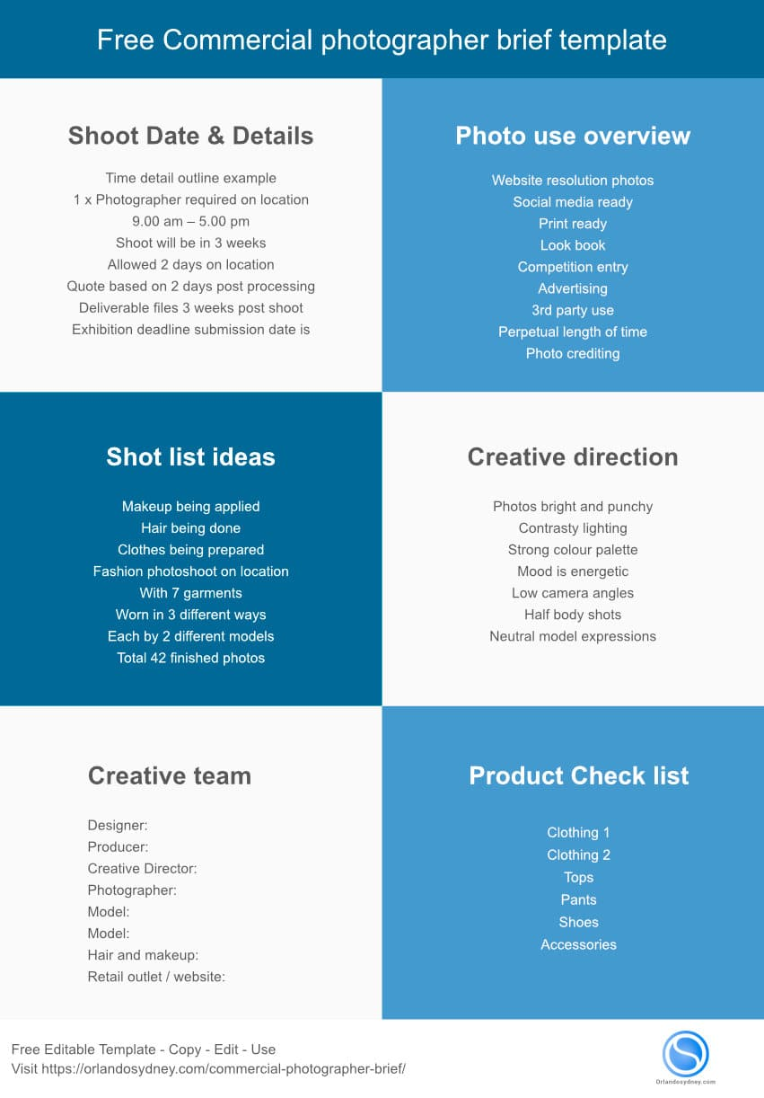 Free Commercial photographer brief template Infographic
