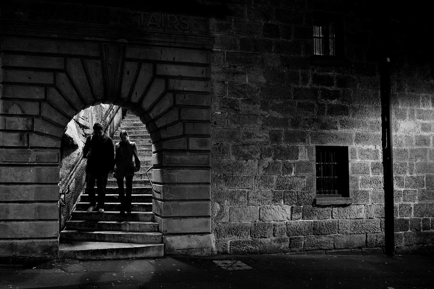 Street Photo with People in Silhouette at The Rocks in Sydney